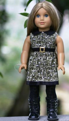 Pleated-Jersey Dress with Faux-Leather Collar and attached belt and button detail...NEW DESIGN/ Original to Doll Closet Heirlooms ...