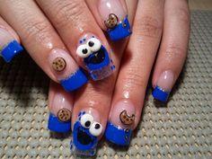 nail designs character | uñas pintadas del monstruo come galleta (4)