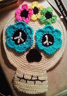 PDF How to Crochet Pattern - Hippy Flower Child Day of the Dead Sugar Skull Table or Wall Art