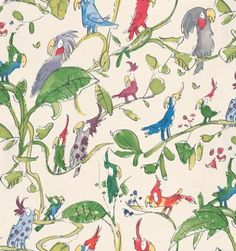 Zagazoo Cockatoos Green - W6060/01 Pattern  £33.30/roll  Width: 53cm, Roll length: 10.05m and Pattern repeat: 61cm