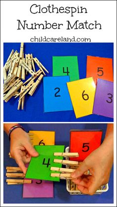 I made this for our math center . it's also great for fine motor development. by dorthy Clothespin Number Match . I made this for our math center . it's also great for fine motor development. by dorthy Toddler Learning, Preschool Learning, Kindergarten Math, Early Learning, Preschool Activities, Number Activities For Preschoolers, Preschool Centers, Children Activities, Preschool Classroom