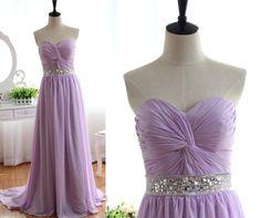 Lavender Chiffon Bridesmaid dress Prom Dress Strapless Sweetheart with Beading Sash Dress on Etsy, $139.37 CAD