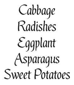 Primitive Garden Vegetable STENCILS Cabbage Radishes Eggplant Asparagus Sweet Potatoes by OaklandStencil, $17.95