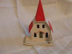 Cardboard Church Christmas Village Miniature Holiday Decor Table Decor by simpleholidaydecor on Etsy
