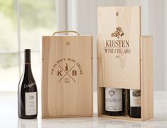 Make an impression when attending a dinner or surprising friends with these custom etched wood wine boxes and carriers. They are ideal for wine gift giving during the holidays or for a special occasion.