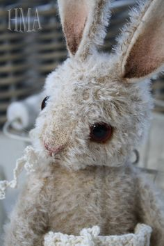 Pucka,    Looks old, sweet and hugged, very well hugged!  Pucka is a One of a kind, made by me, Vivianne Galli in February 2012    This little Bunny is standing about 11 inch tall, tip of her ears to the tip of her fluffy toes & is made from hand dyed aged Mohair & Wool felt.    Pucka has been given,    ~Hand painted details  ~A fluffy soft Mohair tail hiding in her knitted pants!  ~A very nice hug me again & lift me up weight!  ~ Original big Brown glass teddy eyes.  ~Simple but very sweet…