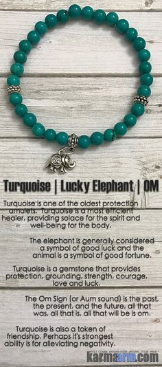 The elephant is generally considered a symbol of good luck and the animal is a symbol of good fortune. ....Yoga Bracelet. Mens & Womens Meditation Bead Mala. Turquoise Lucky Om Elephant Charm.