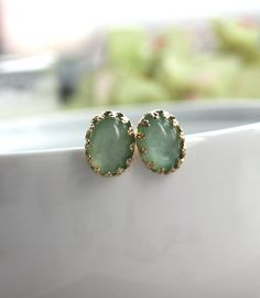 A Dreamy Mint Green Cabochon Lacy Gold Plated Ear Post Earrings.  A Sweet Bridesmaid Gifts.  Bridesmaid Earrings. Bridal, Wedding Earrings.. $12.50, via Etsy.