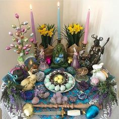 """emiunicornn: """" Ostara blessings to my northern hemisphere witches and happy Mabon to my fellow Southern Hemisphere witches. How amazing is Ostara altar? Ultimate altar goals🐰💞✨ blessed be! Wicca Altar, Autel Wiccan, Magick, Witchcraft, Samhain, Mabon, Beltane, Crystal Altar, Vernal Equinox"""