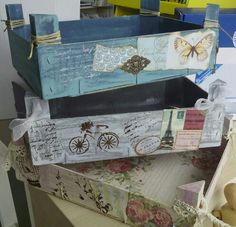 Cajas decoradas #tallerdescrap Diy Birthday, Birthday Gifts, Diy And Crafts, Arts And Crafts, Birthday Gift Baskets, Wooden Crates, Wood Boxes, Recycled Materials, Decoupage