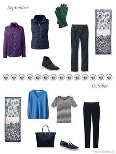 September and October outfits in navy, purple, green and blue