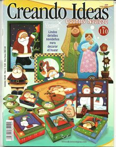 Clic en la portada para ver la revista Book Crafts, Crafts To Do, Christmas Crafts, Christmas Ornaments, Craft Books, Punch Needle Patterns, Craft Patterns, Tole Painting, Fabric Painting
