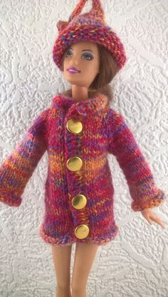 Coat and hat for Barbie.Multicoloured jacket and hat for 12inch fashion doll. OOAK knitted doll sweater. Thigh length. Gold buttons. by Nobodyknitsitbetter on Etsy
