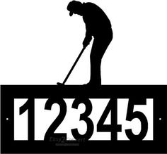 """Custom Steel Golf address sign by Designs Of Steel. $29.99. Overall sign is apprx 12"""" x 12"""". Numbers are apprx 3"""" tall.. Custom crafted from 1/8"""" hot roll steel with a black texture powdercoated finish.. Each sign is made to order. Please allow approximately 2-3 weeks to craft before shipping.. Customized with your house number, 5 digit spaces available.. Number frame has two pre-drilled mounting holes, mounting hardware is not included.. FREE SHIPPING in the US. This beautiful c..."""