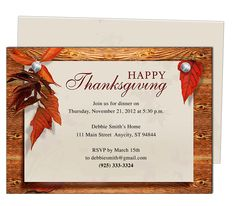 Thanksgiving : Natural Thanksgiving Party Invitation Template