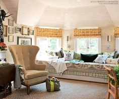In this home office, a bump-out and bay window is fitted with a window seat. Outfitted with a comfy cushion and oodles of throw pillows, the long window seat provides a cozy spot for working or relaxing. Beautiful Ceiling Designs, Classic Ceiling, Attic Rooms, Window Styles, Vintage Room, Window Design, Small Spaces, Family Room, House Design