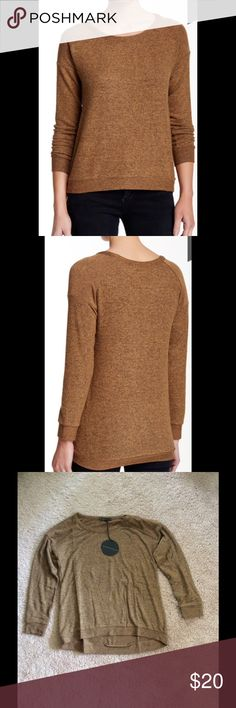 Harlowe & Graham Camel Sweater Harlowe & Graham sweater has a scoop neck. It is a petite large.  The color is Camel. Great for cool summer nights and cool fall days.  74% rayon, 21% polyester, 5% spandex. Hand wash cold. Fits true to size for petite. Harlowe & Graham Sweaters Crew & Scoop Necks