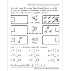 Fichier PDF téléchargeable En noir et blanc seulement 1 page  En première partie, les élèves complètent les ensembles en respectant les consignes illustrées par le crocodile (par exemple, ils doivent représenter un chiffre plus petit que 6 pour le premier ensemble). En deuxième partie, ils doivent placer les bons symboles entre les nombres donnés. 1st Grade Math, First Grade, Teaching Strategies, Teaching Math, Math For Kids, Activities For Kids, Plus Grand Que, Math Books, Math Help