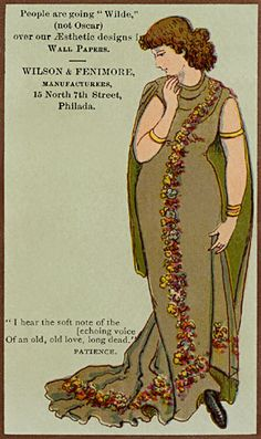 """'People are going """"Wilde,"""" (not Oscar) ... the woman is in Aesthetic dress in this ad for wallpaper."""