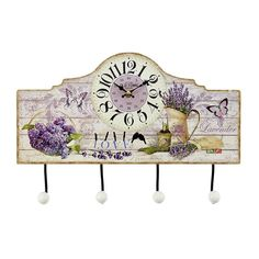 Wooden wall clock with 4 section-hanger 'Levander', in purple color and in size: cm Wall Clock Painting, Metal Birds, Wooden Walls, Wall Clocks, Vintage World Maps, Hanger, Decor Ideas, Stone, Retro