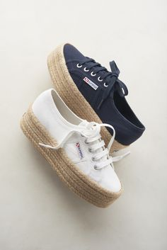 Superga raffia-wrapped platform sneaker (in white and navy).