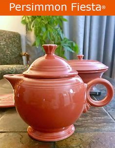 Talking about Persimmon Fiestaware dinnerware from Homer Laughlin China; Homer Laughlin, Kettles, Vintage Tea, Teapots, Tea Time, Dinnerware, Kitchen Ideas, Tea Cups, Shades