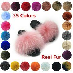 2019 Summer  Women Fluffy Real Fox//Raccoon Furfashion  Slippers Sandal Shoes