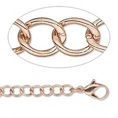 Chain, copper-finished copper, 5x4mm curved oval link, 18 inches with lobster claw clasp. Sold individually.