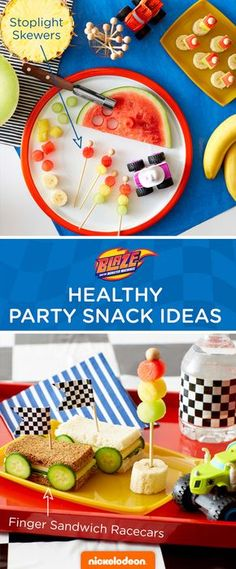 Try some healthy snacks as your Blaze and the Monster Machine birthday party fuel. These stop light snacks and racecar bites include fruits and veggies that the kids will dig.