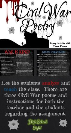 Let the students analyze and teach the class. There are three Civil War poems and instructions for both the teacher and the students regarding the assignment. - Visit to grab an amazing super hero shirt now on sale! Teaching Poetry, Teaching Literature, Teaching History, Teaching Tips, Teaching Reading, History Class, History Essay, Teaching Activities, Classroom Activities