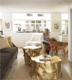 dekoideen baumstamm elemente interieur goldener kaffeetisch