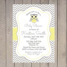 Owl Baby Shower Invitation Printable  Chevron by VividLaneDesigns, $18.00