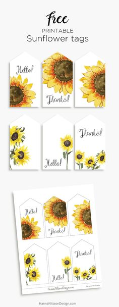 Sunflower tags | free printable gift tags | #sunflowers #printables #freeprintable #papercrafts #gifttags