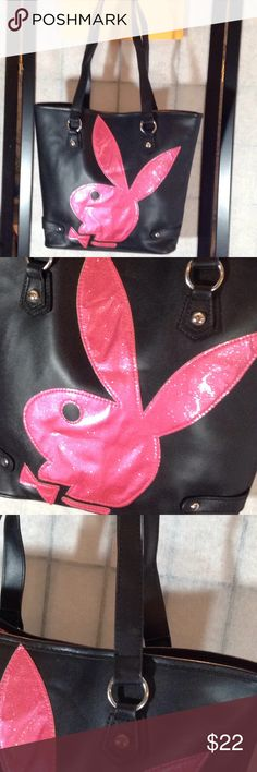 """Playboy PVC tote bag Cute black pvc tote bag with bright pink sparkly Playboy bunny; silver hardware; double straps with a 9"""" drop; magnetic closure on top; inside is pink playboy fabric with zip/slip pockets; very good condition; 14""""X11"""" (B-2) Playboy Bags Totes"""