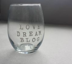 Love Dream Blog Hand Painted Wine Glass by tinywishescreations