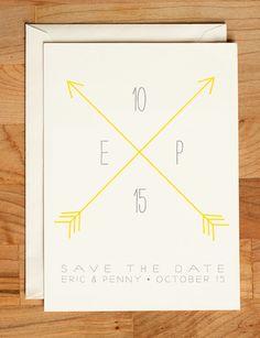 Wedding Save the Date - Arrows Straight & True Invitation. $2.75, via Etsy.