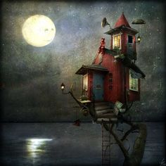 Illustration of girl looking at moon. Great house.