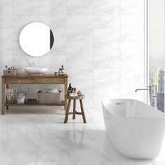 Helena grey floor tiles have a beautiful matt finish and are made from hardwearing porcelain. These lovely marble effect tiles do have quite high colour and pattern variation between tiles to reflect the natural beauty of marble. They are a beautiful choice for large bathroom tiles or for grey tiled kitchens.