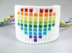 Rainbow Heart Friendship Bracelet - Pixelated Heart Knotted Bracelet. $38.00, via Etsy.