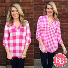 Two NEW ARRIVALS that will have you feeling Pretty in Pink!!  You loved this tunic in Black & White, now it's available in Pink Gingham and Pink Checker! #BBGirls #bestseller #spring #prettyinpink brandisboutiqueshop.co