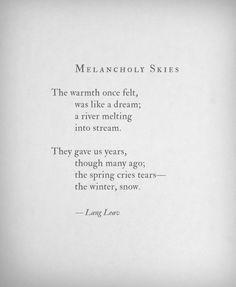 Melancholy Skies by Lang Leav