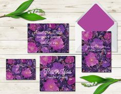 Custom Wedding Invitation Suite Digital & Instant Download Printable Templates - Hand painted Flowers by Aticnomar on Etsy