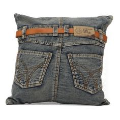 Recycled denim pillow with a jeans-inspired design. Product: PillowConstruction Material: Denim and fillingColor: Blue Features: Insert included Dimensions: x This is just too cute. I'm sure if I had the time I could make one. Sewing Pillows, Diy Pillows, Decorative Pillows, Cushions, Accent Pillows, Diy Jeans, Blue Denim Jeans, Denim Purse, Jean Crafts