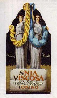 Cartolina pubblicitaria degli anni venti dell'Industria di filati artificiali Snia-Viscosa - ME PIEMONT - MANIFESTI