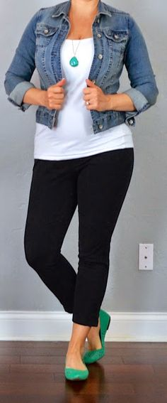 Denim jacket + White t-shirt + black pants + bright necklace/shoes. From Outfitposts.com