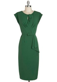 Once and Conifer All Dress by Stop Staring! - Green, Solid, Belted, Work, Sheath / Shift, Cap Sleeves, Long, Pinup, Cocktail, 50s, 60s