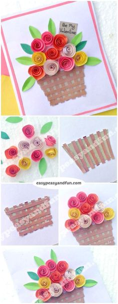 DIY Rolled Paper Roses Valentines Day or Mothers Day Card 2019 Flower Basket Paper Craft for Kids. Super simple Spring craft project for kids to make. The post DIY Rolled Paper Roses Valentines Day or Mothers Day Card 2019 appeared first on Paper ideas. Mothers Day Crafts For Kids, Spring Crafts For Kids, Craft Projects For Kids, Paper Crafts For Kids, Paper Crafting, Diy For Kids, Simple Crafts For Kids, Simple Paper Crafts, Project For Kids