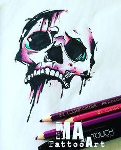 #matattooart #skull #tattoo #loveskull #watercolortattoo by _ma_tattoo_art