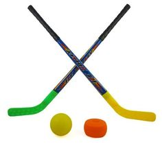 """Sports Hockey Set for Kids w/ 2 Hockey Sticks, Puck & Ball by Beise. $12.95. Made with light & durable plastic. Fun sports hockey set for kids. Set includes 2 hockey sticks, 1 puck, 1 ball. Helps kids develop hand-eye coordination, timing and encourages active play. Hockey stick measures 34"""" long, puck & ball with 3.5"""" diameter. This sports hockey set will give your kids many hours of fun.  Playing with this hockey set will help your kids develop hand-eye coordina..."""