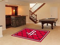 Fanmats Houston Rockets Rug 5 x 8 ft by Fanmats. $205.66. Theme Sports. Type Rug. Length 60 in.. Type Mat. Made in USA. Proudly display your team spirit with this officially licensed Fanmats® Houston Rockets 5-ft x 8-ft rug. The plush 28-oz nylon rug is decorated in team colors and designed with the team logo.. Save 24% Off!